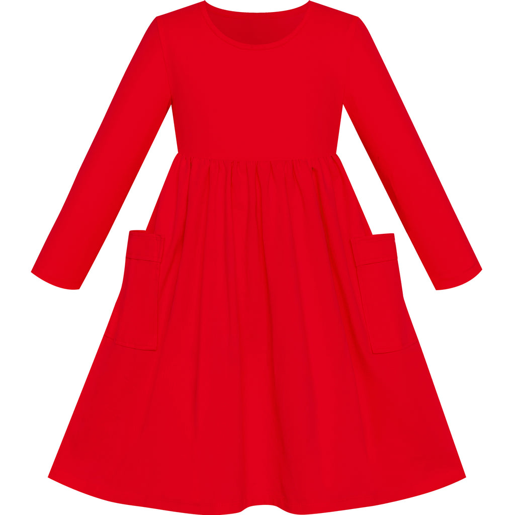 Girls Dress Red Casual Cotton Long Sleeve Dress Size 3-8 Years