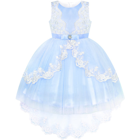 Flower Girl Dress Lace Hi-low Skirt Blue Wedding Pageant Size 6-12 Years