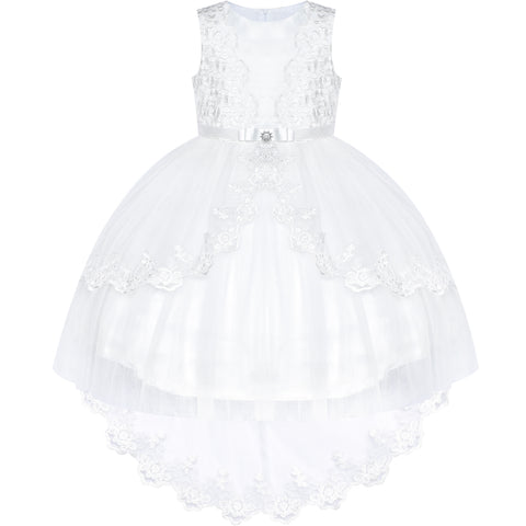 Flower Girl Dress Lace Hi-low Skirt Off White Wedding Pageant Size 6-12 Years