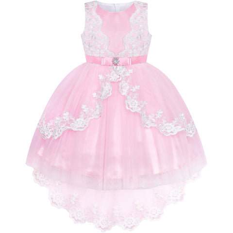Flower Girl Dress Lace Hi-low Skirt Pink Wedding Pageant Size 6-12 Years