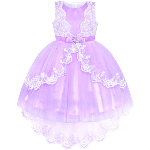 Flower Girl Dress Lace Hi-low Skirt Purple Wedding Pageant Size 6-12 Years