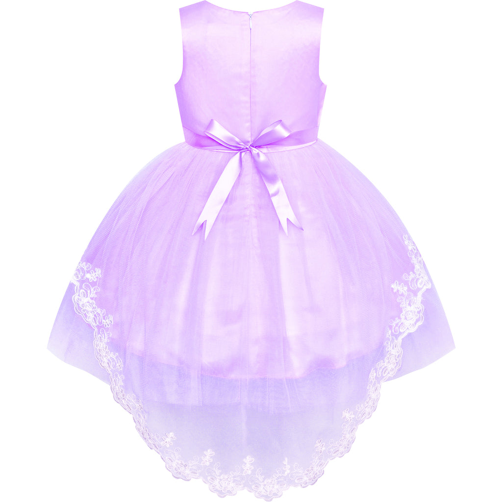 Sunny Fashion Flower Girl Dress Purple Bow Tie Pageant Wedding Age 5-12 Years