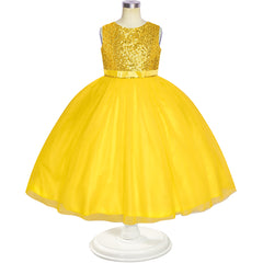 Flower Girl Dress Sleeveless Golden Ball Gown Wedding Pageant Size 6-12 Years