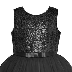 Flower Girl Dress Sleeveless Black Ball Gown Wedding Pageant Size 6-12 Years