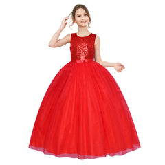 Flower Girl Dress Sleeveless Red Ball Gown Wedding Pageant Size 6-12 Years