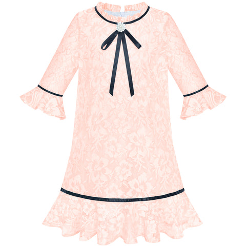Girls Dress Lace Bow Tie Light Pink Elegant 3/4 Sleeve Size 5-10 Years