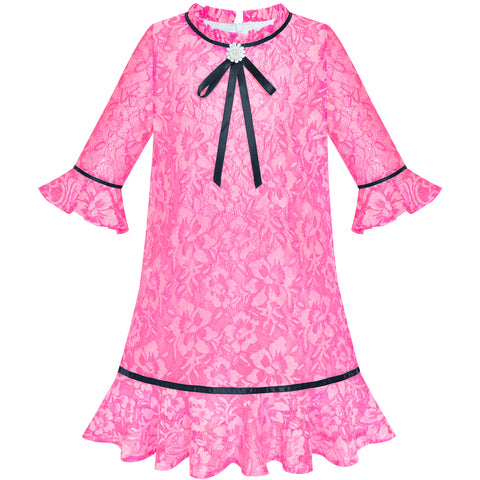 Girls Dress Lace Bow Tie Deep Pink Elegant 3/4 Sleeve Size 5-10 Years