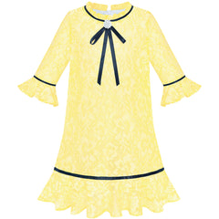 Girls Dress Lace Bow Tie Yellow Elegant 3/4 Sleeve Size 5-10 Years