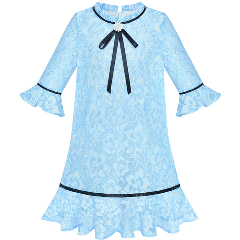 Girls Dress Lace Bow Tie Blue Elegant 3/4 Sleeve Size 5-10 Years