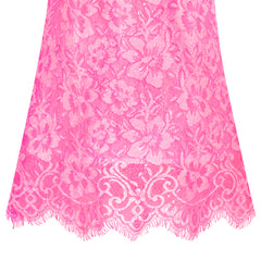 Girls Dress Lace Wave Hem Deep Pink Elegant Party Size 5-10 Years