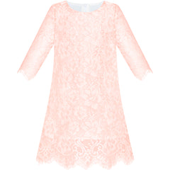 Girls Dress Lace Wave Hem Light Pink Elegant Party Size 5-10 Years