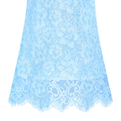Girls Dress Lace Wave Hem Blue Elegant Party Size 5-10 Years