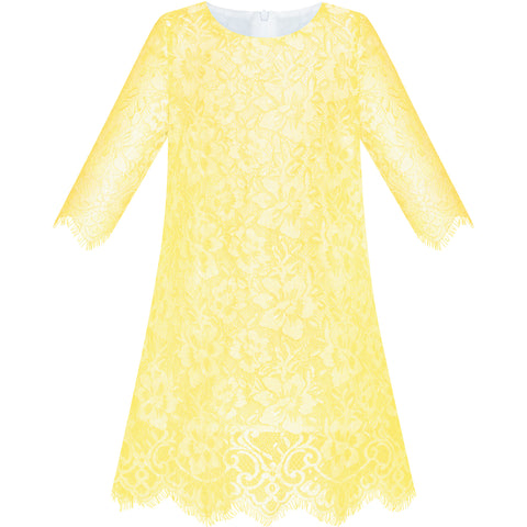Girls Dress Lace Wave Hem Yellow Elegant Party Size 5-10 Years