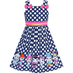Girls Dress Navy Blue Polka Dot Bow Tie Casual Sundress Size 2-8 Years