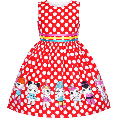 Girls Dress Red Polka Dot Cotton Casual Sundress Size 2-10 Years