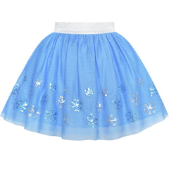 Girls Skirt Blue Snow Queen Costume Tutu Dancing Size 2-10 Years