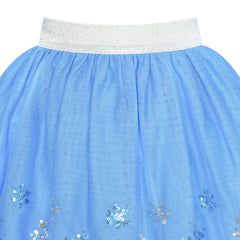 Girls Skirt Blue Snow Queen Costume Crown Wand Tutu Dancing Size 2-10 Years
