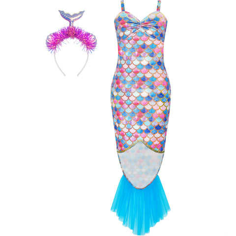 Girls Dress Mermaid Headband Princess Costume Halloween Party Size 2-8 Years