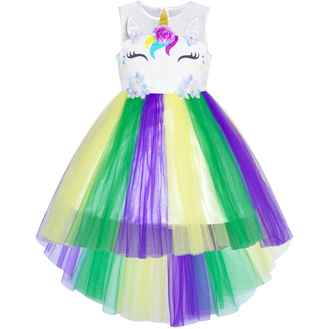Girls Dress Unicorn Costume Mardi Gras Festival Parade Size 4-10 Years