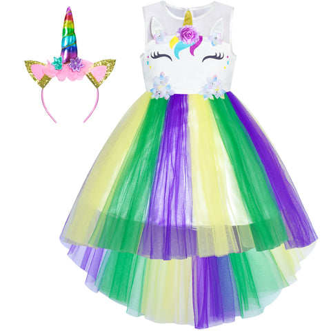 Girls Dress Unicorn Costume Headband Mardi Gras Festival Parade Size 4-10 Years