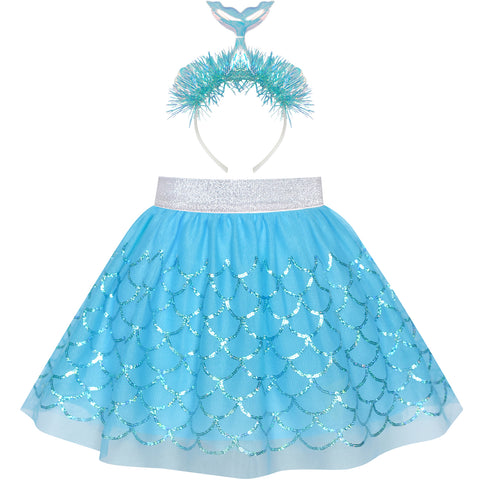 Girls Skirt Blue Sequins Mermaid Headband Tutu Dancing Size 2-10 Years