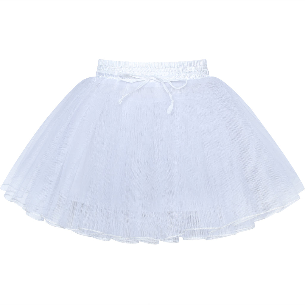 Girls Hoopless Petticoat Skirt Flower Girl Crinoline Underskirt Wedding Size 3-12 Years