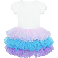 Girls Dress Tutu Dancing Tiered Mermaid Headband Size 3-7 Years