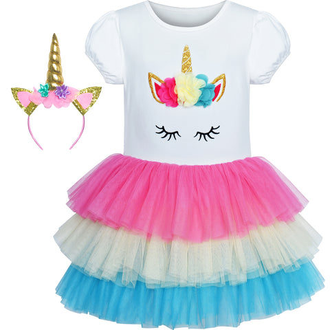 Girls Dress Tutu Dancing Unicorn Headband Birthday Size 3-7 Years