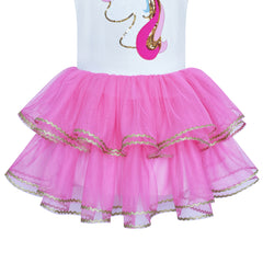 Girls Dress Tutu Dancing Unicorn Headband Embroidered Rainbow Size 3-7 Years