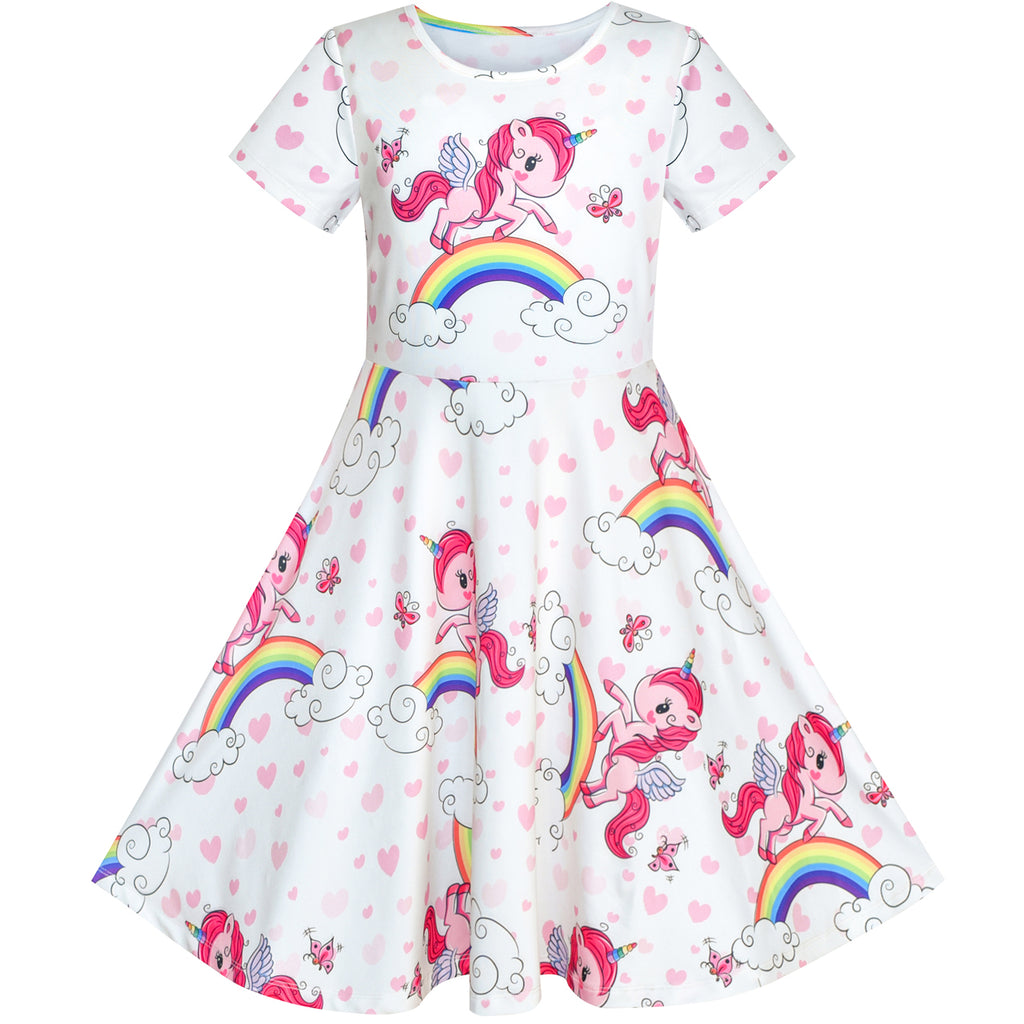 Girls Dress Unicorn Rainbow Short Sleeve Casual Dress Size 3-8 Years
