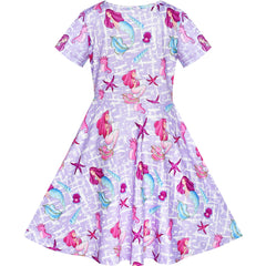 Girls Dress Mermaid Short Sleeve Casual Dress Size 5-10 Years
