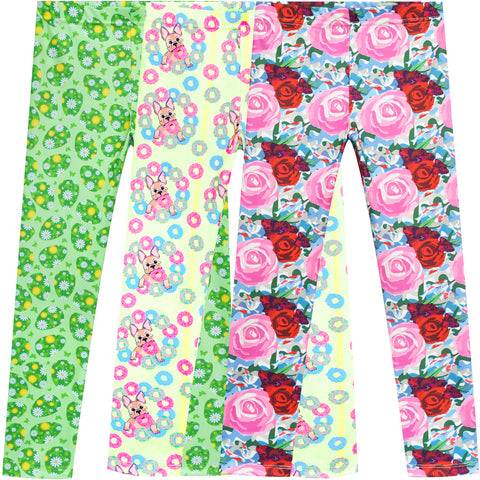 Girls Pants 3-Pack Casual Leggings Dog Easter Egg Floral Size 3-7 Years