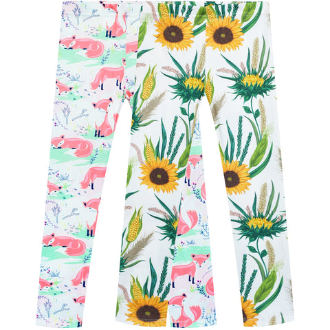 Girls Pants 2-Pack Casual Leggings Sunflower Fox Size 3-7 Years