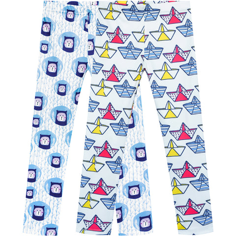 Girls Pants 2-Pack Casual Leggings Bear Boat Size 3-7 Years
