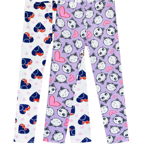 Girls Pants 2-Pack Casual Leggings Heart National Day Kitty Size 3-7 Years