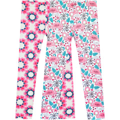 Girls Pants 2-Pack Casual Leggings Flower Floral Size 3-7 Years