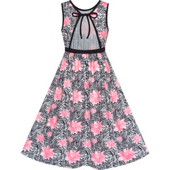 Girls Dress Tie Back Flower Black Pink Casual Dress Party Size 6-12 Years