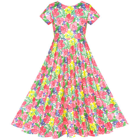 Girls Dress Floral Maxi Dress Open Back Bow Tie Casual Size 4-8 Years