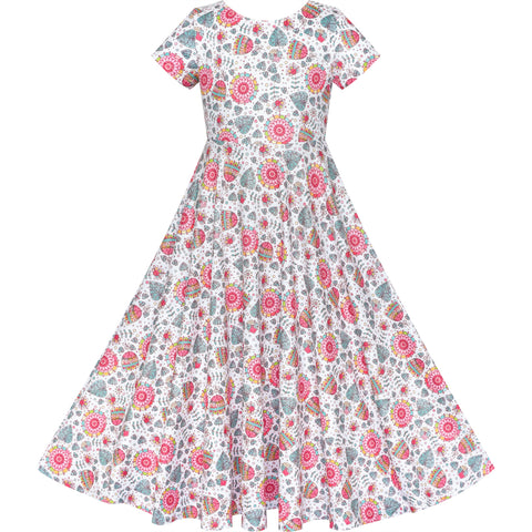Girls Dress Floral Casual Maxi Dress Short Sleeve Open Back Size 4-8 Years