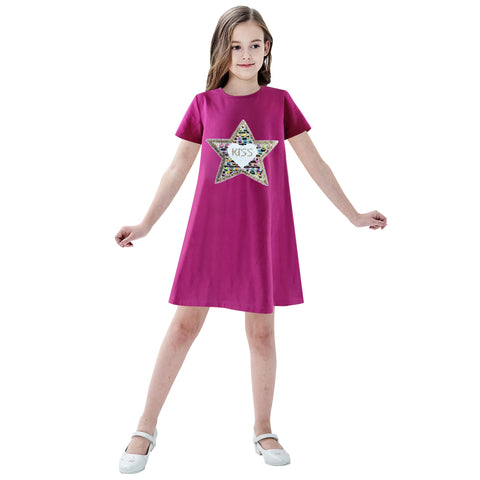 Girls Dress Cotton Casual Star Embroidered Violet Red Size 3-7 Years