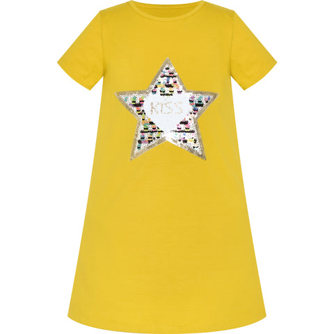 Girls Dress Cotton Casual Star Embroidered Violet Yellow Size 3-7 Years