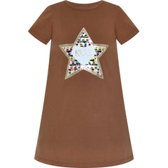 Girls Dress Cotton Casual Star Embroidered Violet Coffee Size 3-7 Years