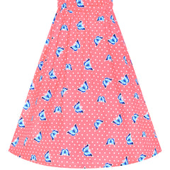 Girls Dress Tie Back Blue Butterfly Casual Dress Party Size 4-8 Years