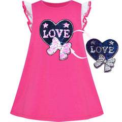 Girls Dress Cotton Casual Heart Bow Tie Embroidered Pink Size 3-7 Years