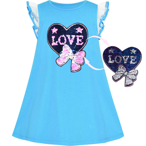 Girls Dress Cotton Casual Heart Bow Tie Embroidered Blue Size 3-7 Years