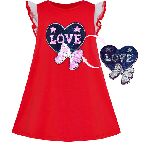 Girls Dress Cotton Casual Heart Bow Tie Embroidered Red Size 3-7 Years