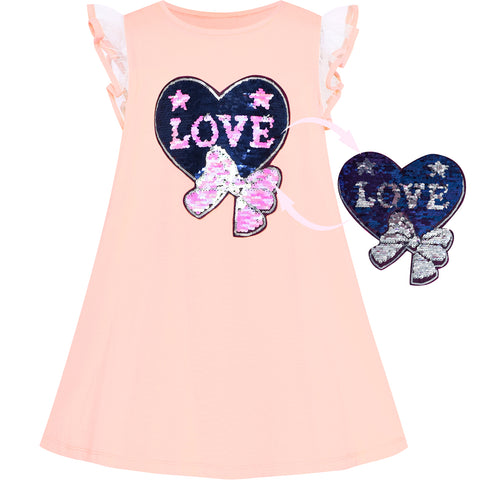 Girls Dress Cotton Casual Heart Bow Tie Embroidered Blush Pink Size 3-7 Years