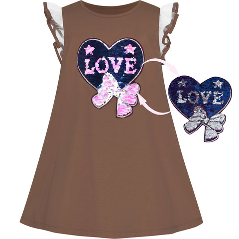Girls Dress Cotton Casual Heart Bow Tie Embroidered Coffee Size 3-7 Years