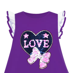 Girls Dress Cotton Casual Heart Bow Tie Embroidered Purple Size 3-7 Years