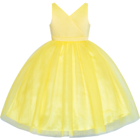 Flower Girl Dress Ball Gown V Neckline Yellow Wedding Pageant Size 4-10 Years